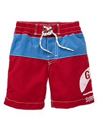 Colorblock logo swim trunks