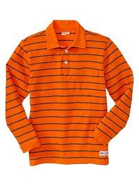 Long-sleeve striped polo