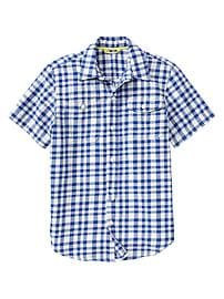 Short-sleeve woven plaid shirt
