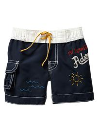 Embroidered cargo swim trunks
