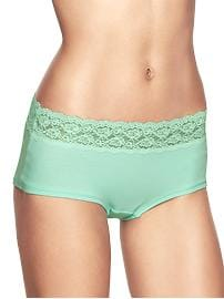 Cotton lace-trim girl shorts