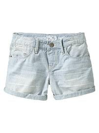Shortie railroad-stripe denim shorts