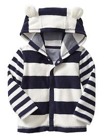 Multi-striped terry hoodie