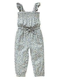 Printed smocked romper