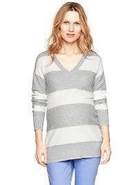 Mesh stitch striped sweater