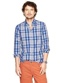 Lived-in wash multi plaid shirt