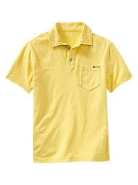 Short-sleeve garment-dyed polo