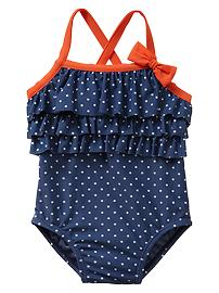Ruffle dot one-piece