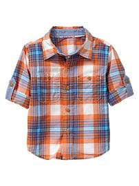 Convertible orange Madras shirt