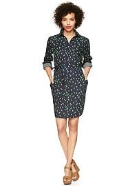 Bird print tie-waist shirtdress