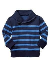 Striped shawl-collar pullover