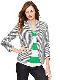 Striped linen unstructured blazer