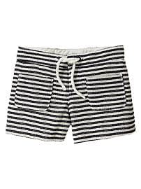 Striped patch pocket shorts