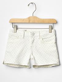 Dot denim shortie shorts