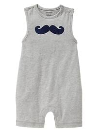 Mustache graphic one-piece