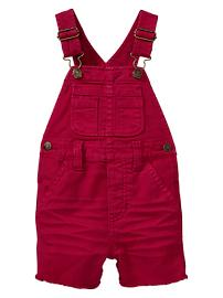 Red short denim overalls