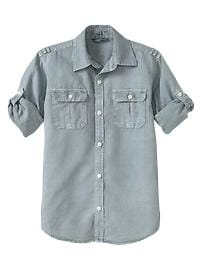 Convertible garment-dyed shirt