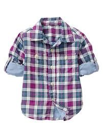 Convertible plaid shirt