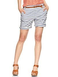 Striped boyfriend roll-up shorts