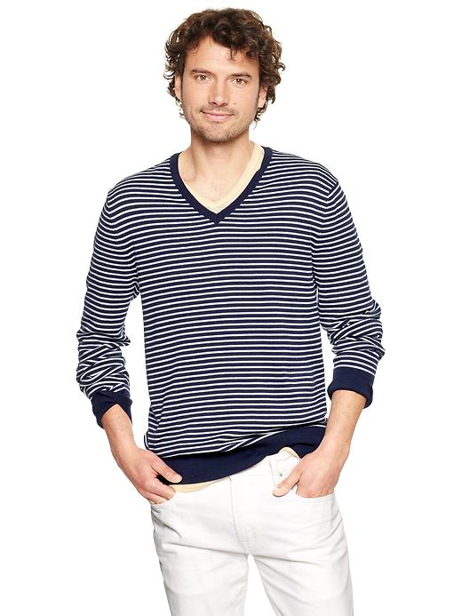 Gap Striped Cotton V Neck Sweater $ 44.95