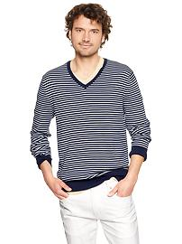 Striped cotton V-neck sweater