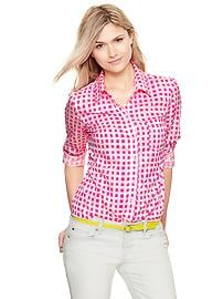 Fitted boyfriend geo print shirt