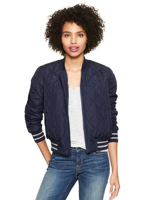Gap Quilted Bomber Puffer Jacket - navy