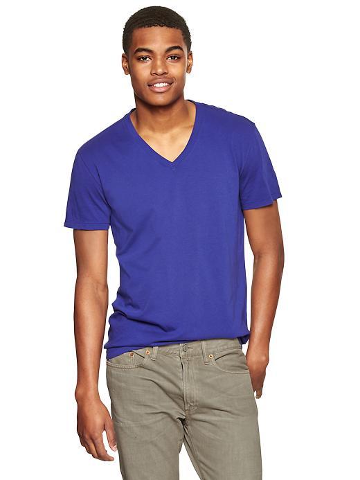 Gap Men Essential V Neck T Shirt Size L Tall - Spectrum blue