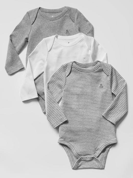 Gap Favorite Long Sleeve Bodysuit 3 Pack Size 12-18 M - Gray