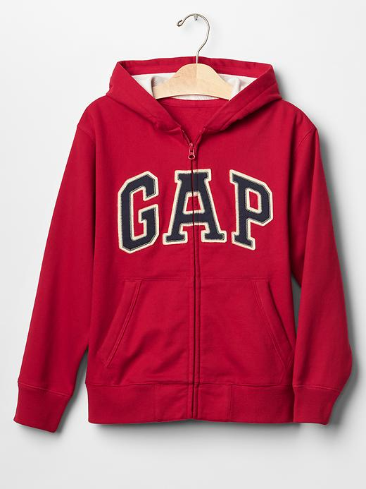 Gap Boys Waffle Lined Logo Zip Hoodie Size XS - Lasalle red