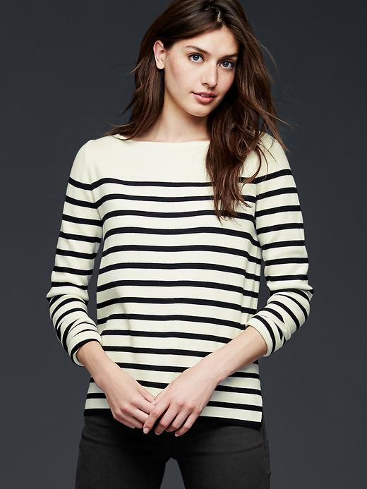 Gap Stripe Boatneck Sweater Size L - Black stripe