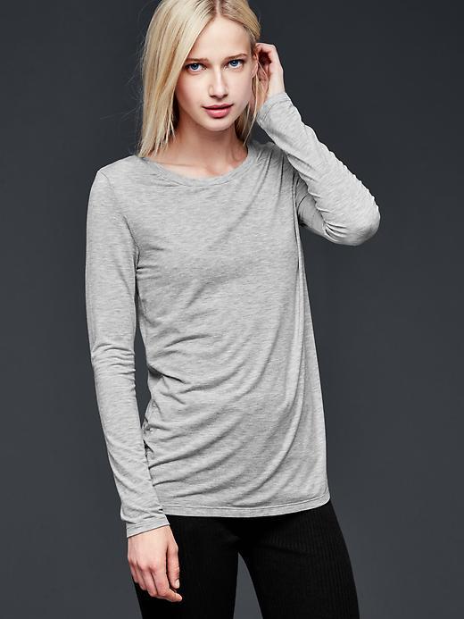 Gap Pure Body Modal Long Sleeve Tee Size M - Light heather grey