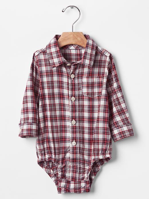 Gap Plaid Bodysuit Size 18-24 M - Ruby wine
