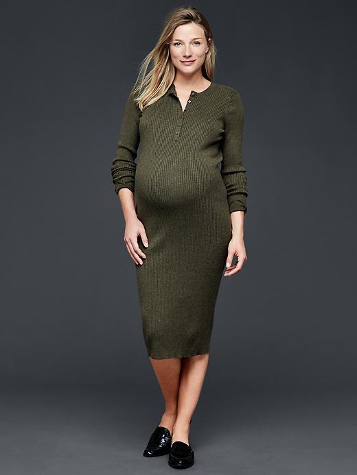 Gap Midi Ribbed Sweater Dress Size S - Green heather