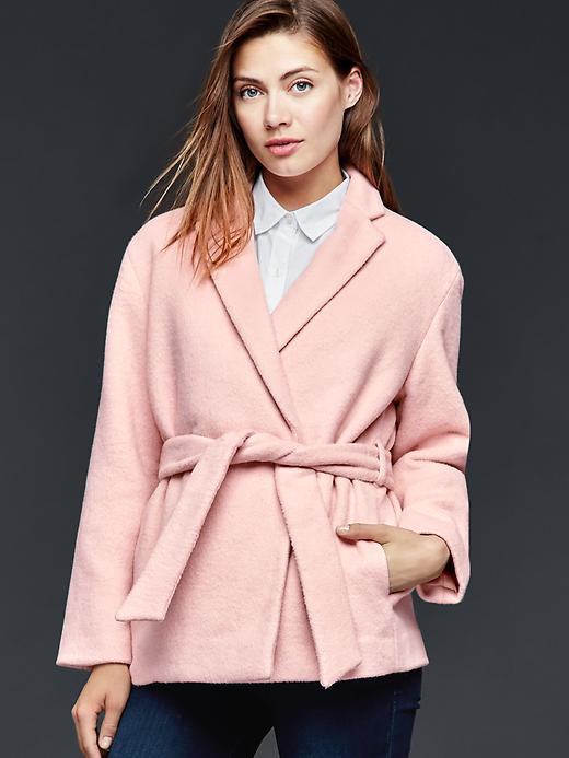 Gap Wool Wrap Coat Size L Petite - Dusty pink