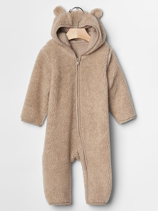 Darling sherpa zip baby bear one-piece