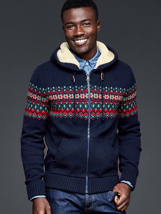 Gap Sherpa Fair Isle Zip Sweater Hoodie Size XL Tall - Navy printed fairisle