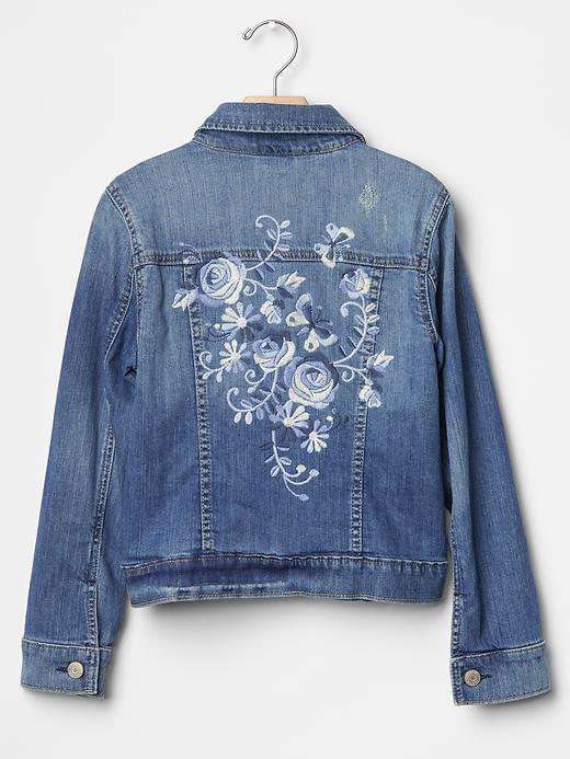 Gap Girls 1969 Floral Embroidered Denim Jacket Size L Plus - Indigo denim