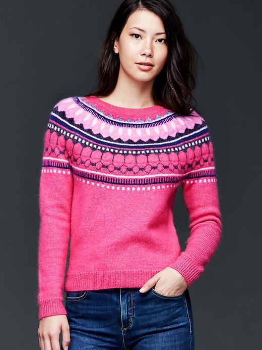 Gap Circular Fair Isle Sweater Size S - Bright pink
