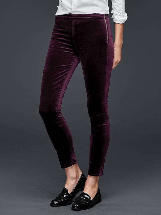Gap Velvet Side Zip Pull On Leggings Size 28 Regular - Burgundy