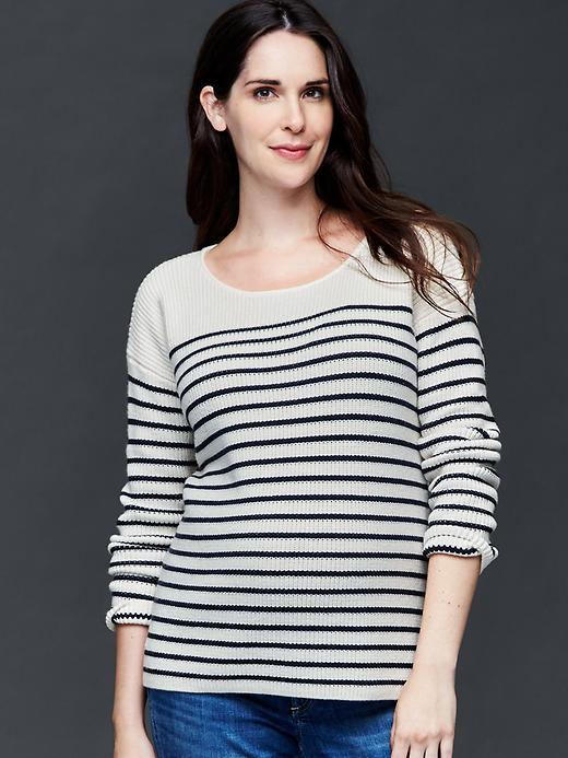 Gap Brooklyn Stripe Scoop Sweater Size L - Navy stripe