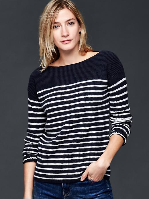 Gap Nautical Stripe Rib Sweater Size L - White stripe