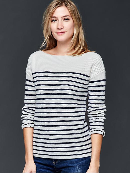 Gap Nautical Stripe Rib Sweater Size M - Dark night