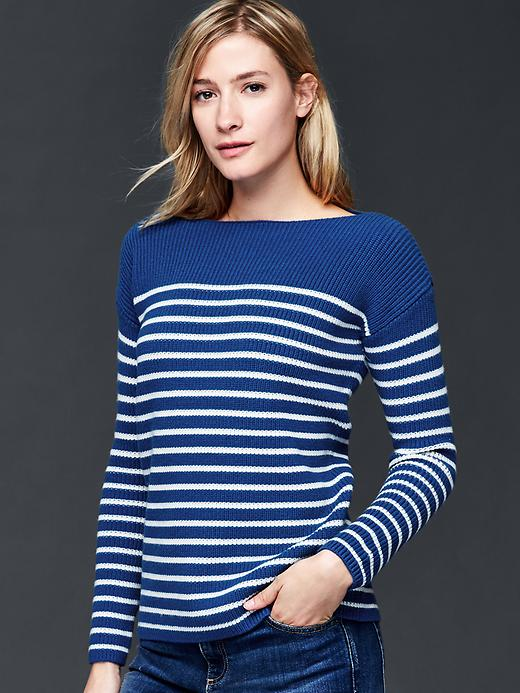 Gap Nautical Stripe Rib Sweater Size XL - Blue stripe