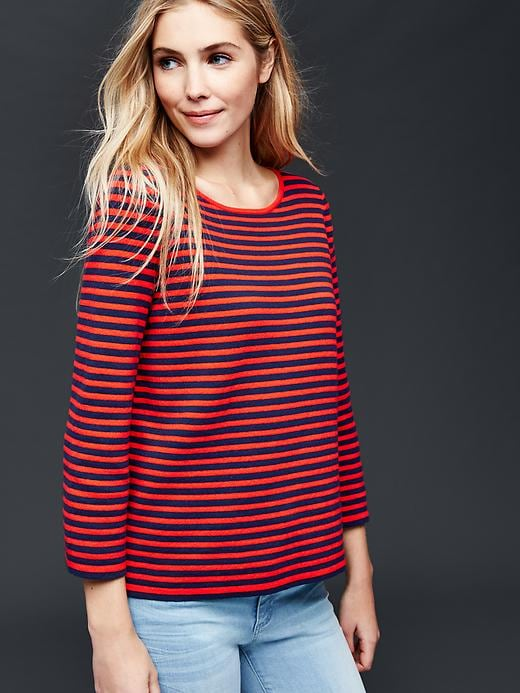 Gap Nautical Stripe Bell Sleeve Sweater Size L - Red stripe