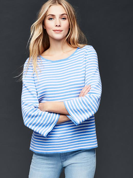 Gap Nautical Stripe Bell Sleeve Sweater Size XXL - Blue stripe