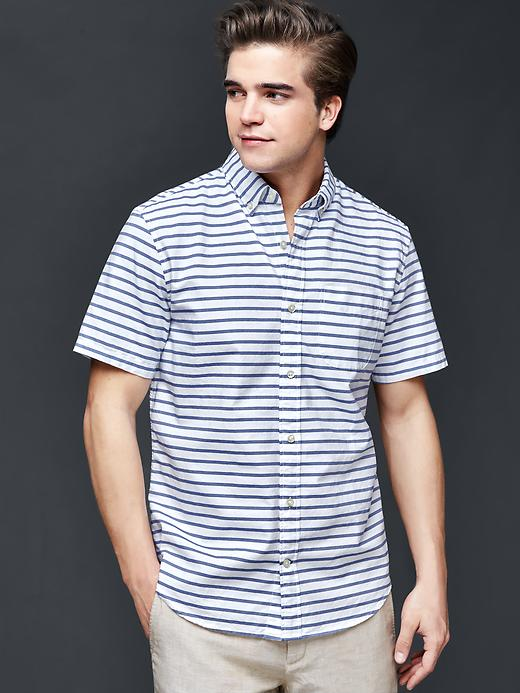 Gap Men Oxford Horizontal Stripe Short Sleeve Standard Fit Shirt Size L - Imperial blue