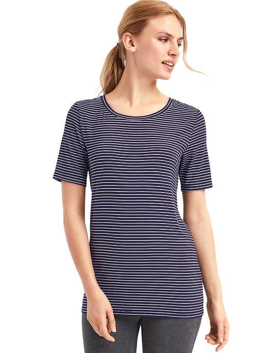 Gap Women Pure Body Modal Short Sleeve Tee Size S - Pencil strp drk indigo