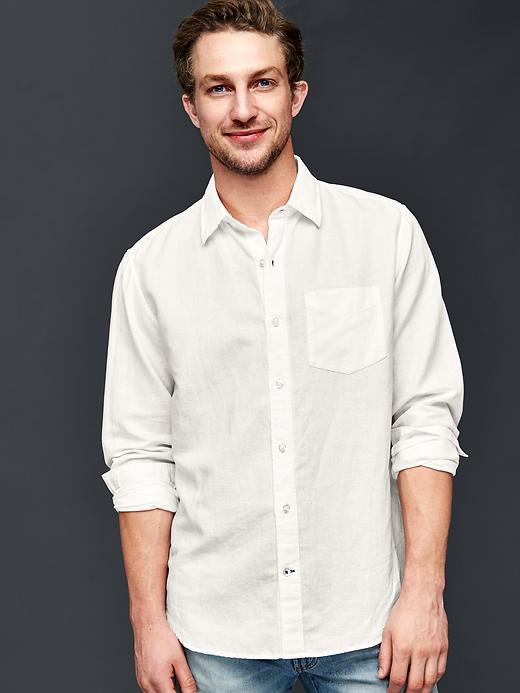 Gap Men Linen Cotton Standard Fit Shirt Size L - White