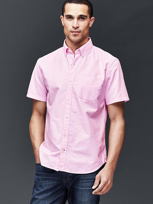 Gap Men Oxford Short Sleeve Standard Fit Shirt Size L - Primrose pink
